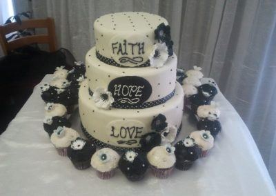 Cakes Devine -Faith, Hope, Love Wedding Cake
